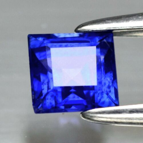 0.42ct 3.8mm Square Natural Blue Sapphire Ceylon, Ring #27