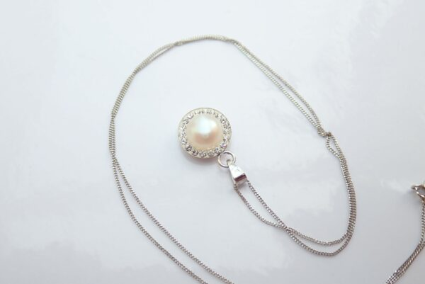 White Pearl Solitaire & Cubic Zirconia Pendant 16″ Necklace 9k White Gold #30