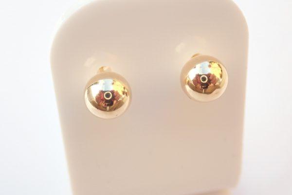 9k Yellow Gold Ball Earrings Pierced, 375 #13