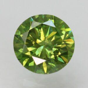0.51 Carat Yellowish Green SI2 Round Brilliant Natural Diamond 4.86mm #52