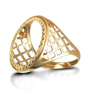 Solid 9ct yellow gold full Sovereign size coin mount ring basket design shoulders. D&G101