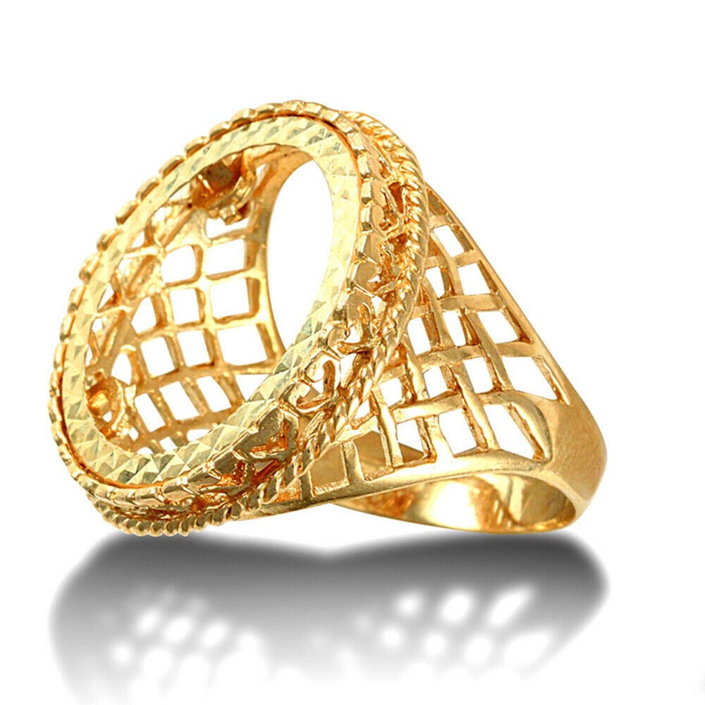 a 28 - Solid 9ct yellow gold half Sovereign size rope edge coin mount ring with basket design shoulders.