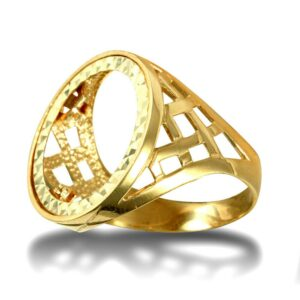 Men's Solid 9ct Gold Thick Basket Full Sovereign Mount Ring