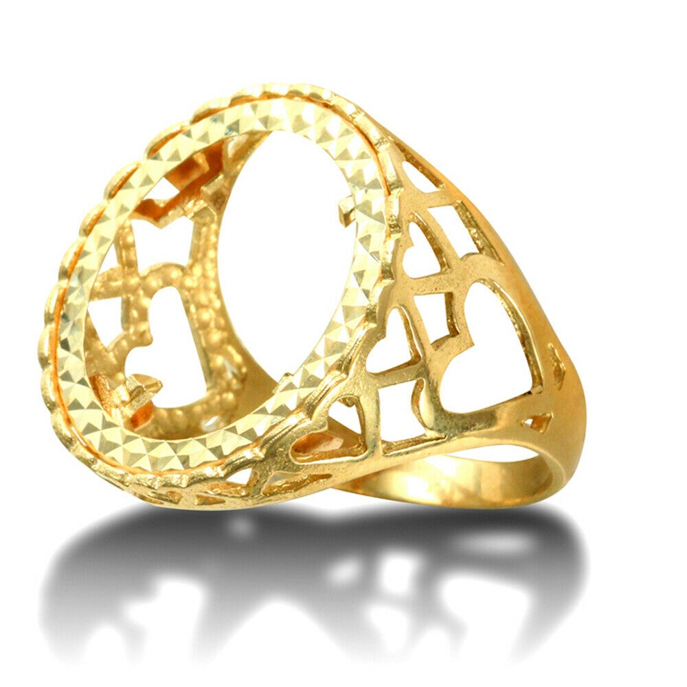 a 30 - Solid 9ct Gold Love Hearts Full Sovereign Mount Ring