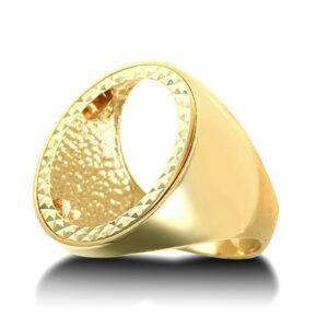 9ct yellow gold half Sovereign size coin mount ring with polished shoulders.