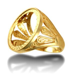 Men's Solid 9ct Gold Welsh Feather Full Sovereign Mount Ring
