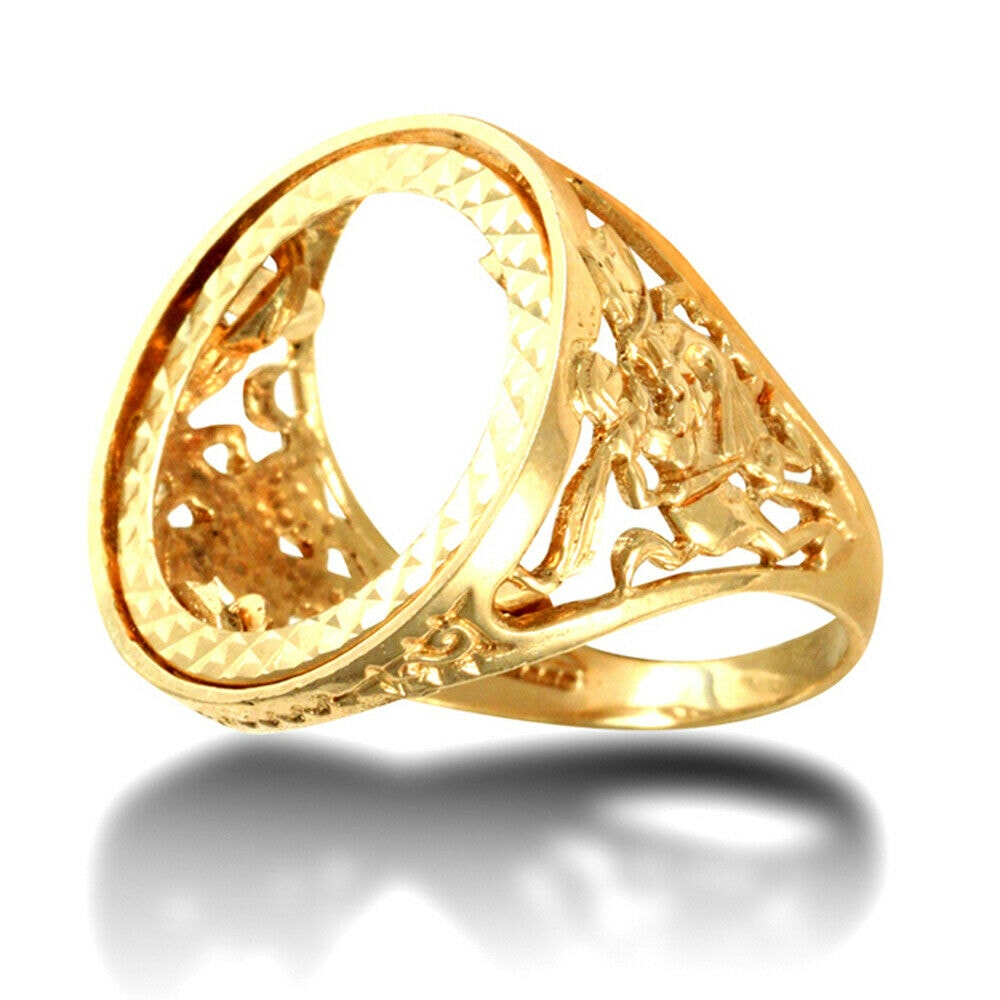 a 34 - Solid 9ct Gold Man's St George Dragon Slayer full Sovereign Mount Ring.