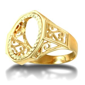 Men's Solid 9ct Gold Octagon Scroll Full Sovereign Mount Ring