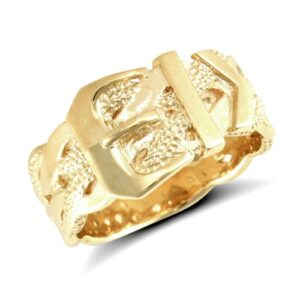 solid 9ct yellow gold hand finished medium weight buckle design ring.