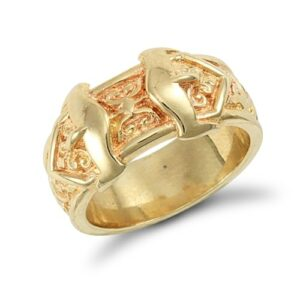 Special Made to order Solid 9ct yellow gold medium weight carved double buckle design ring.