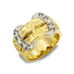 solid 9ct yellow gold heavy weight carved buckle design ring cubic zirconia stones