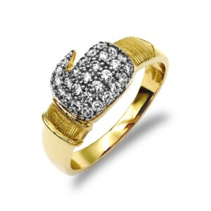 9ct yellow gold light weight boxing glove ring cubic zirconia stones.