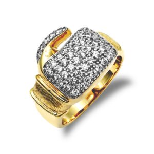 9ct yellow gold hand finished medium weight polished boxing glove ring cubic zirconia stones.