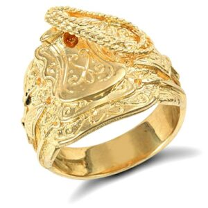 Solid 9ct yellow gold hand finished heavy weight saddle ring