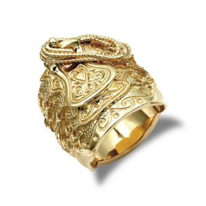 Man's Solid 9ct yellow gold hand finished heavy weight saddle ring.