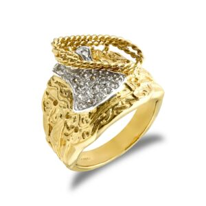 9ct yellow gold hand finished light weight saddle ring hand-set with cubic zirconia stones.