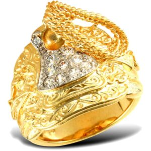 Solid 9ct yellow gold heavy weight saddle ring cubic zirconia stones.