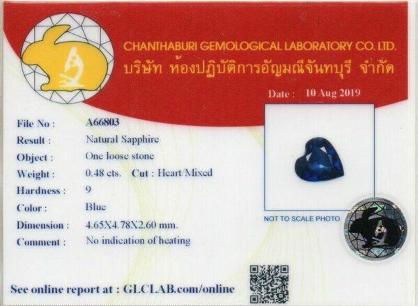 CERTIFICATE Inc.*0.48ct 4.7×4.6mm VS Heart Natural Unheated Blue Sapphire #17