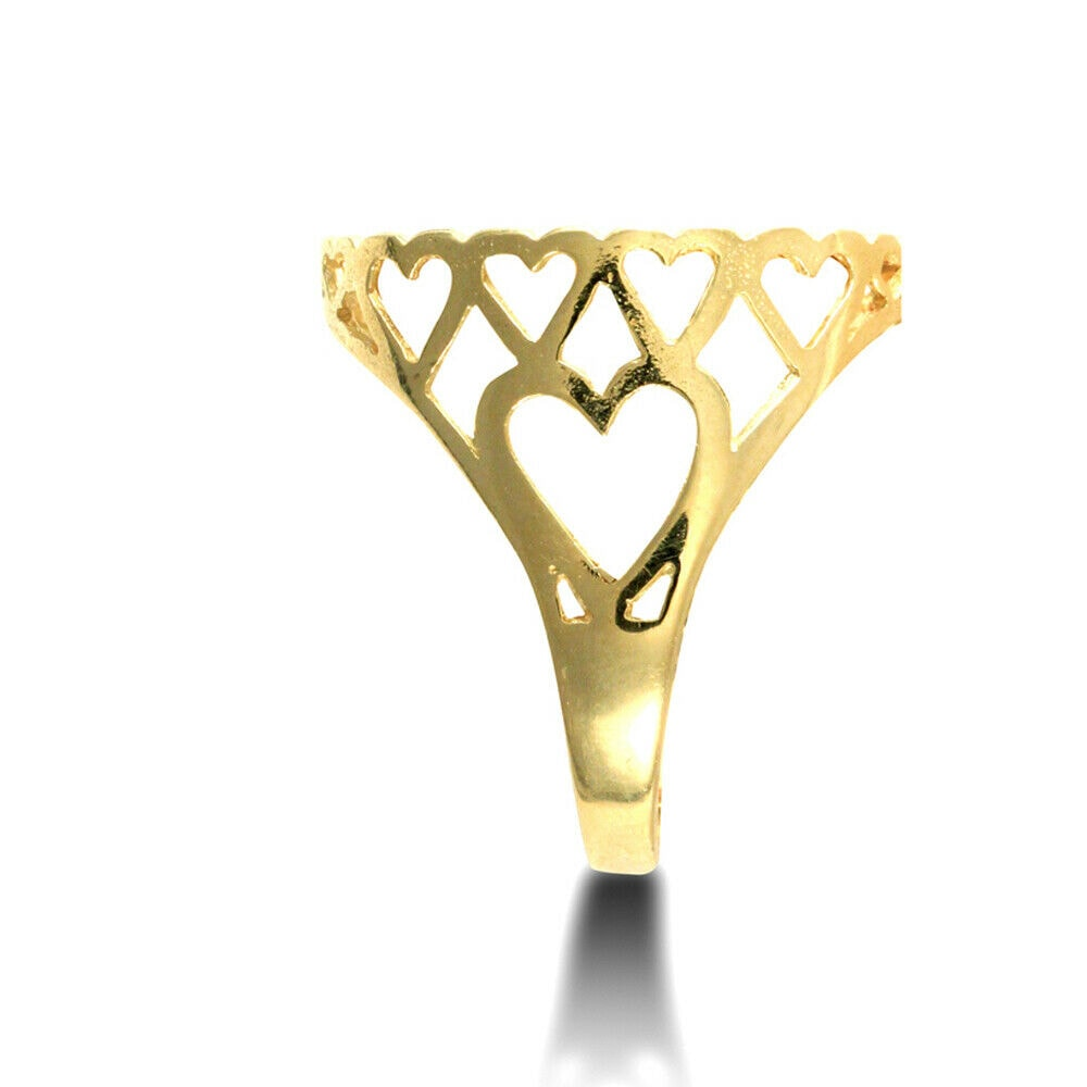 aa 34 - Solid 9ct Gold Love Hearts Full Sovereign Mount Ring