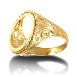 Men's Solid 9ct Gold Fleur De Lis Full Sovereign Mount Ring