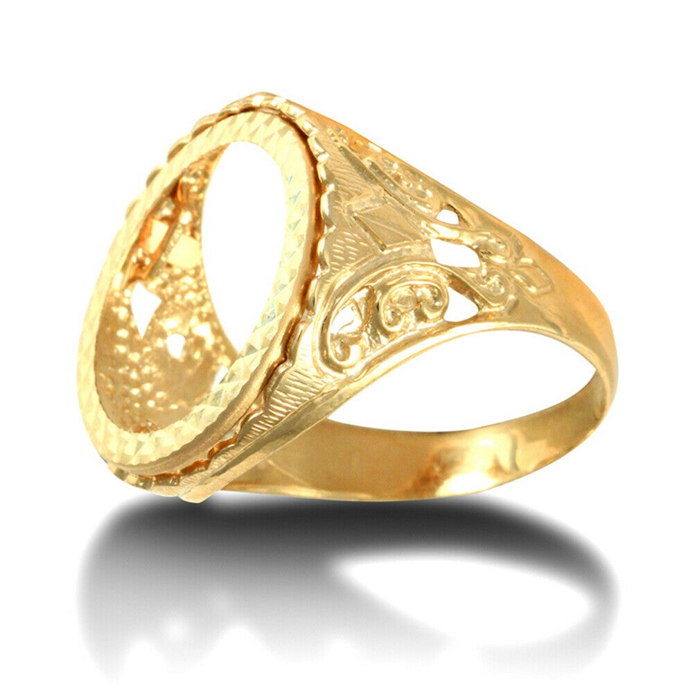 aa 36 - Solid 9ct Gold Fleur De Lis half Sovereign Mount Ring