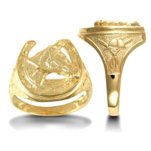 Solid 9ct yellow gold hand finished medium weight horse shoe ring.