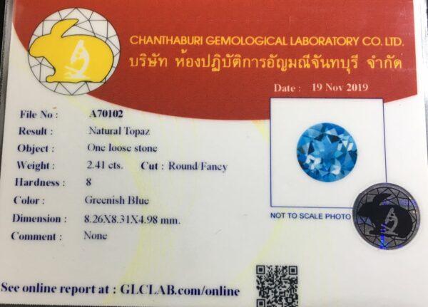 Certified 2.41ct 8.3mm VVS Round Natural London Blue Topaz, Brazil #5