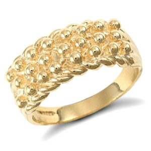 solid 9ct yellow gold hand finished light weight 3 row keeper ring.