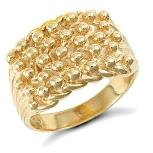 Solid 9ct yellow gold hand finished medium weight 5 row keeper ring.