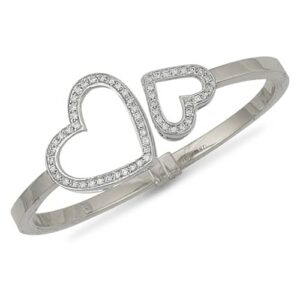 9ct White gold hinged and cubic zirconia set light weight heart bangle.