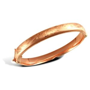 9ct rose gold hinged hollow bangle diamond cut design safety chain.