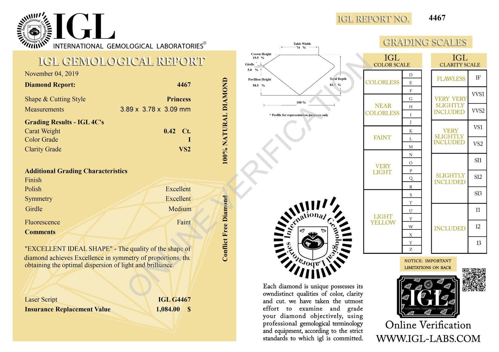 Certified 0.42 Carat I Colour VS2 Princess Natural Loose Diamond 3.89×3.78mm 2EX