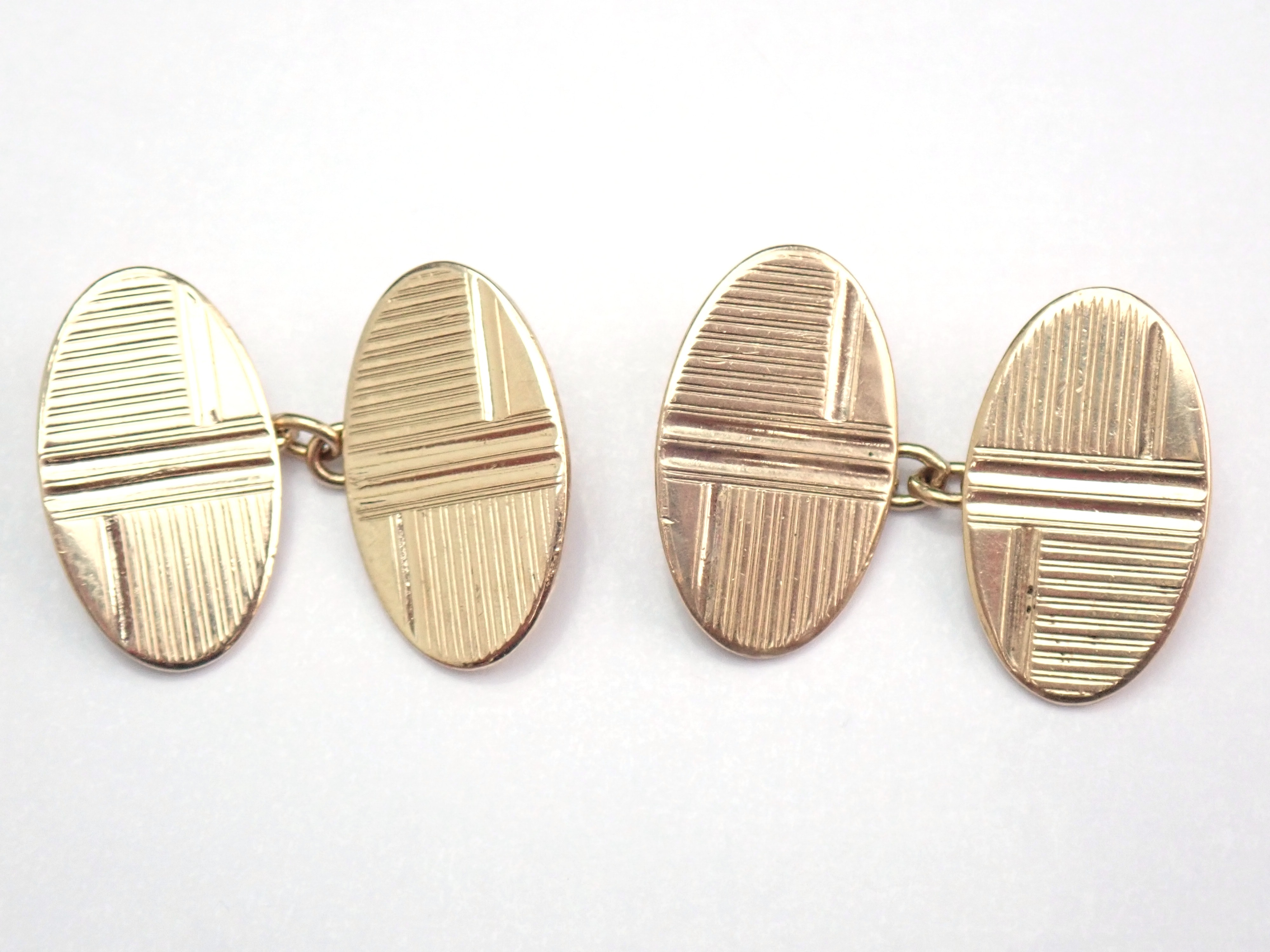 Solid 9ct yellow gold handmade Oval shaped cufflinks. 6.0gms – #110