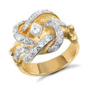 Solid 9ct yellow gold medium weight knot ring hand set cubic zirconia stones.