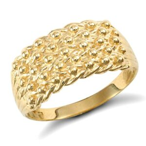 Solid 9ct yellow gold hand finished light weight 5 row keeper ring.