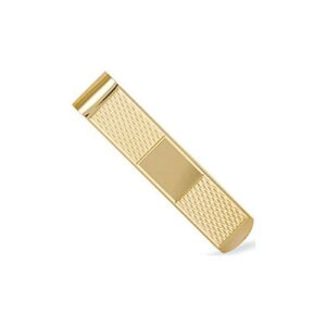 Solid 9ct yellow gold hand finished money clip diamond cut cross pattern featuring ID bar
