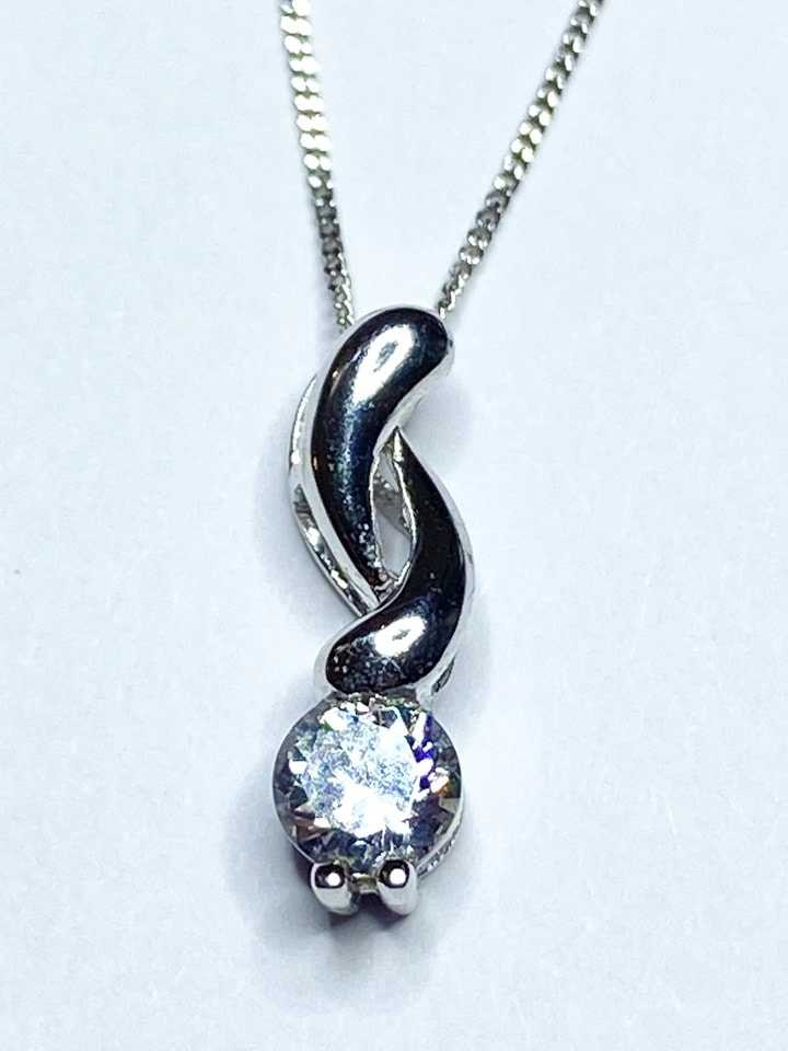 Beautiful! Cubic Zirconia Pendant and chain in 9 carat white gold fully Hallmarked
