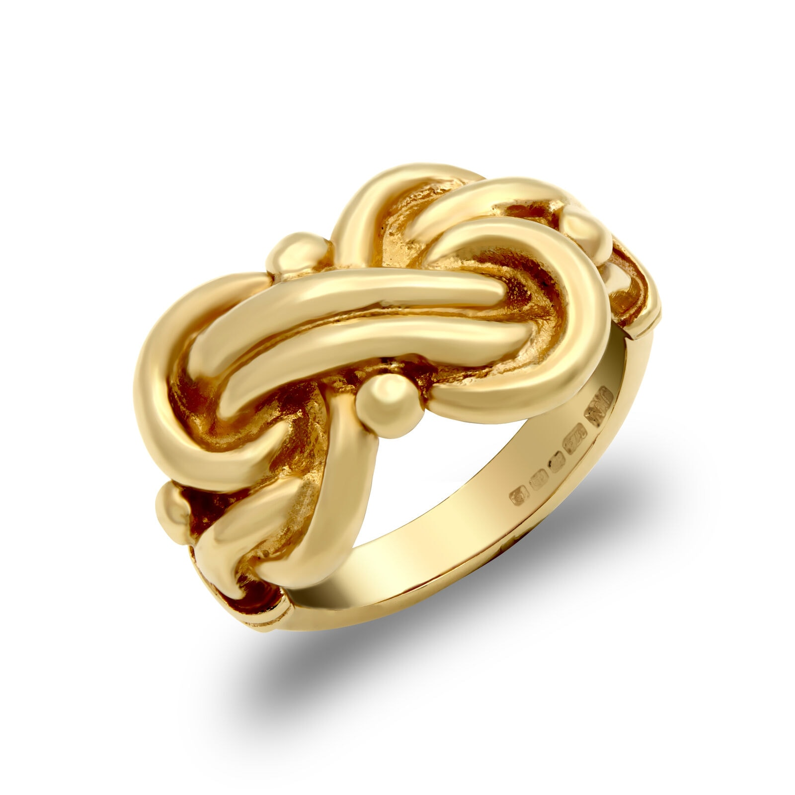 Solid 9ct yellow gold hand finished light weight double knot ring.
