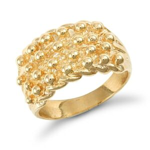 Solid 9ct yellow gold hand finished medium weight 4 row keeper ring.