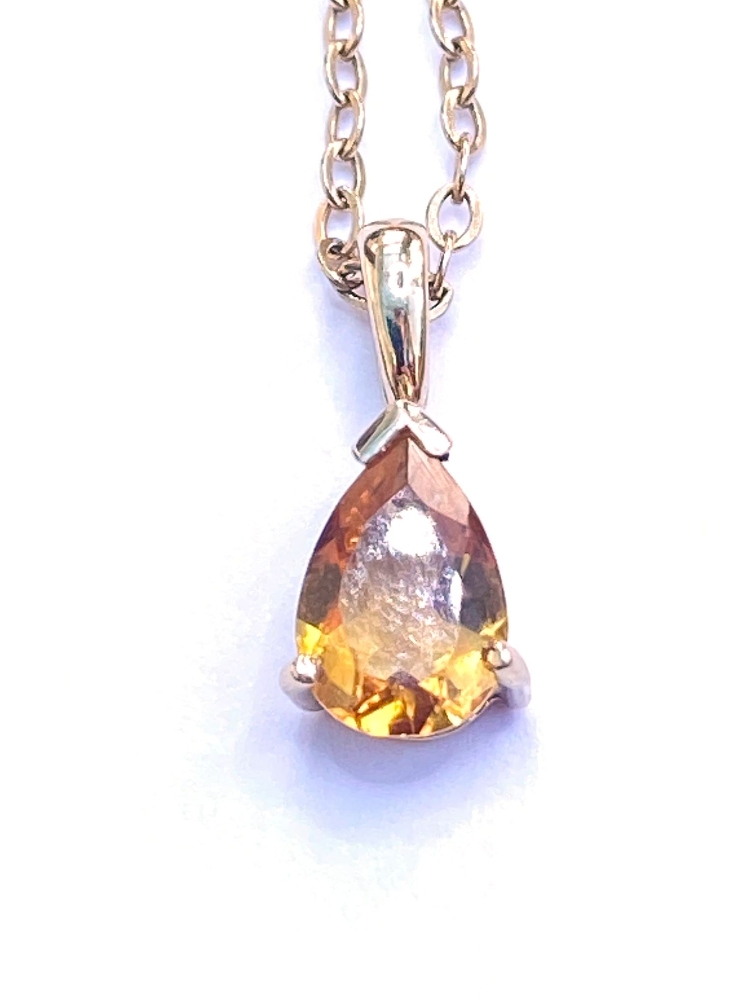 Certified 0.95 Ct Citrine Pear Shape Pendant, Solid 9K Yellow Gold Anchor link Chain