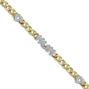 solid 9ct yellow gold and cubic zirconia set curb link Mum bracelet, lobster clasp