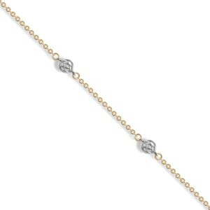9ct Yellow Gold chain with a white hollow ball by the inch bracelet