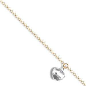 9ct Yellow Gold chain with a white faceted hollow heart bracelet