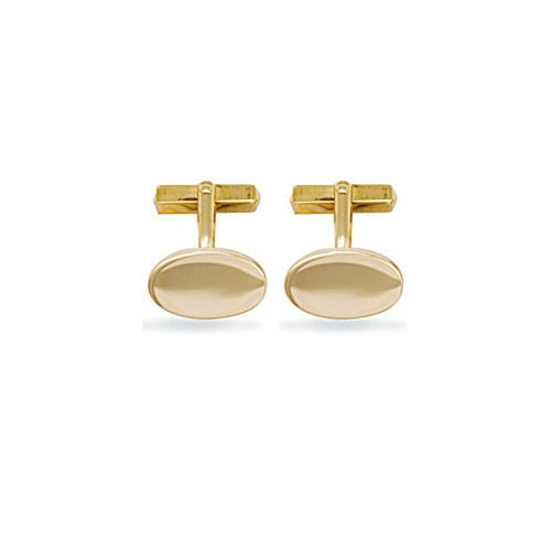 Solid 9ct yellow gold hand made oval shaped cufflinks with a swivel fitting.