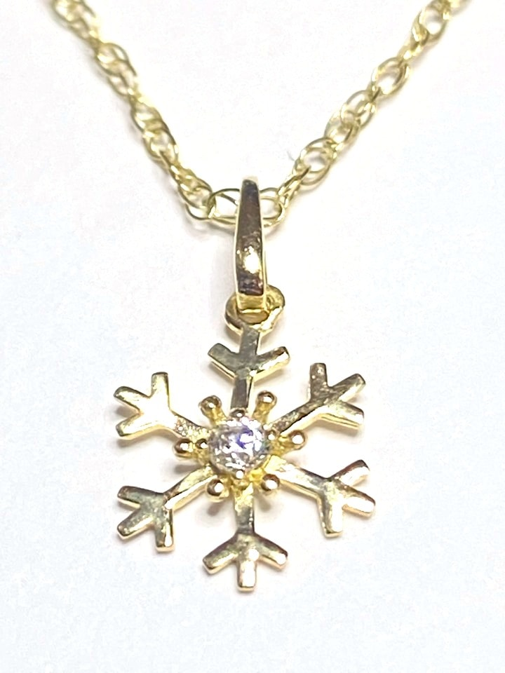 snowflake - 9k Yellow Gold Snowflake Pendant set with Cubic Zirconia and Chain