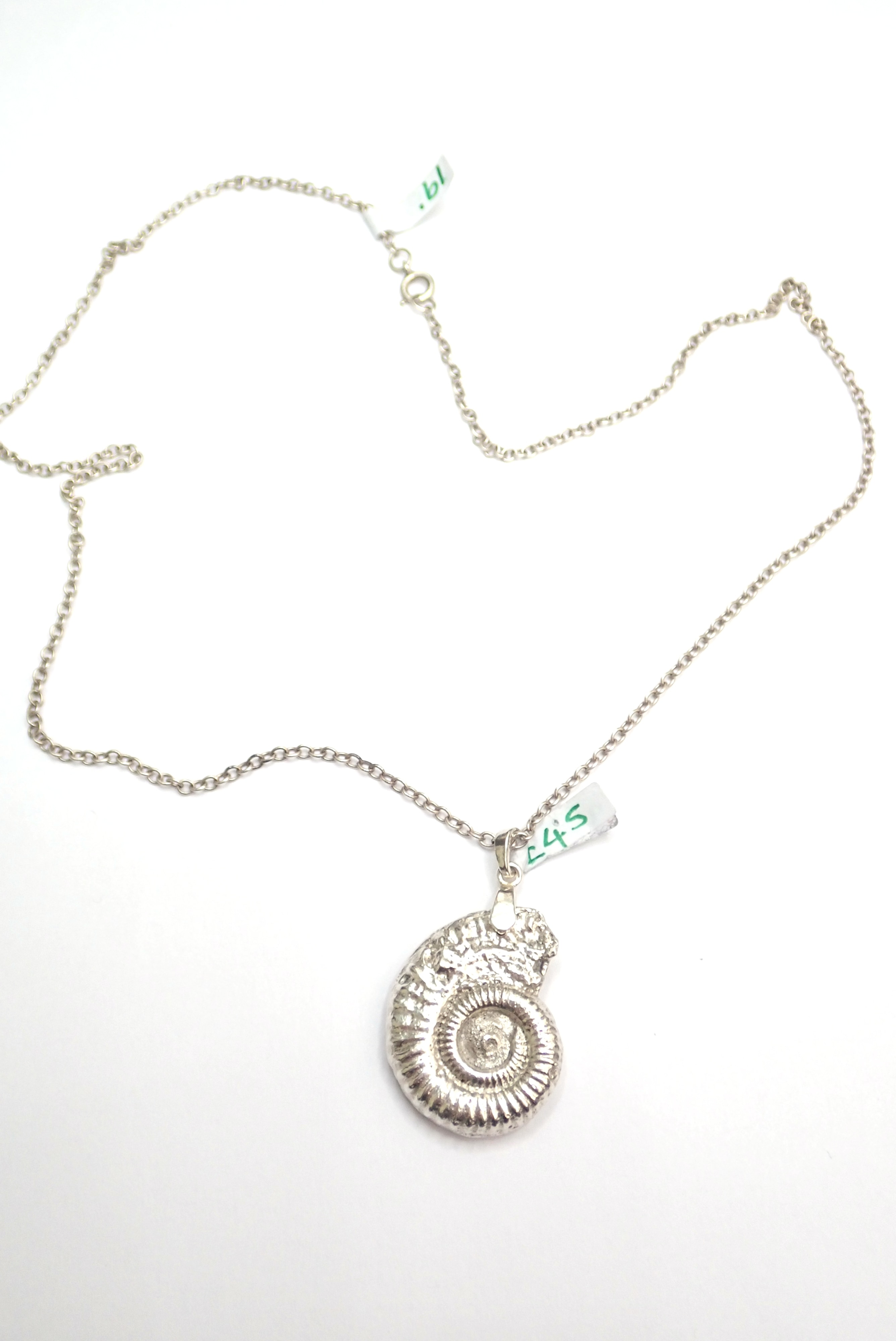 Stunning! Solid 925 Sterling Silver Handmade Ammonite Pendant with 19″ Belcher chain # 17.6g