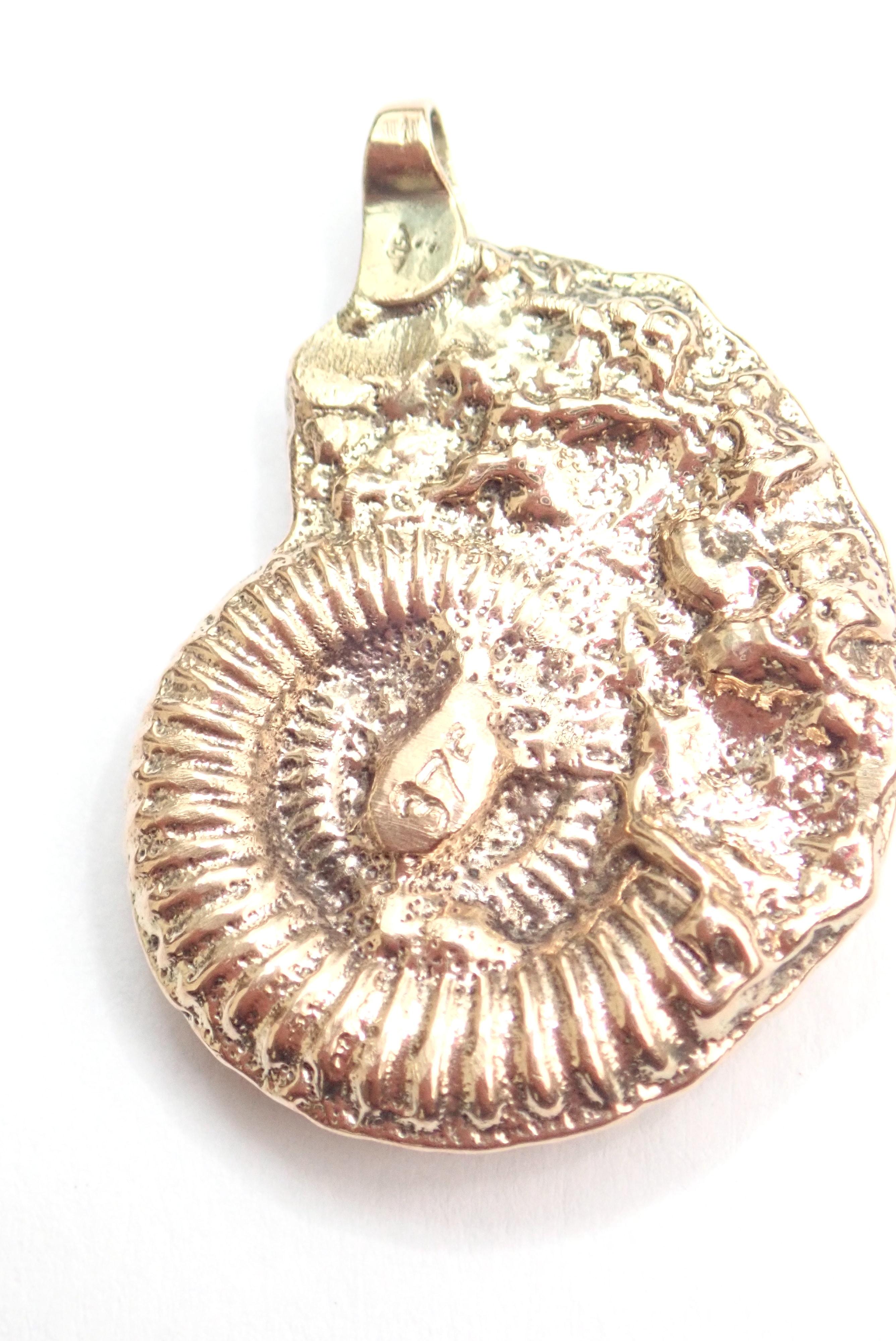 Solid 9ct Gold Handmade Ammonite Pendant 14.5gms