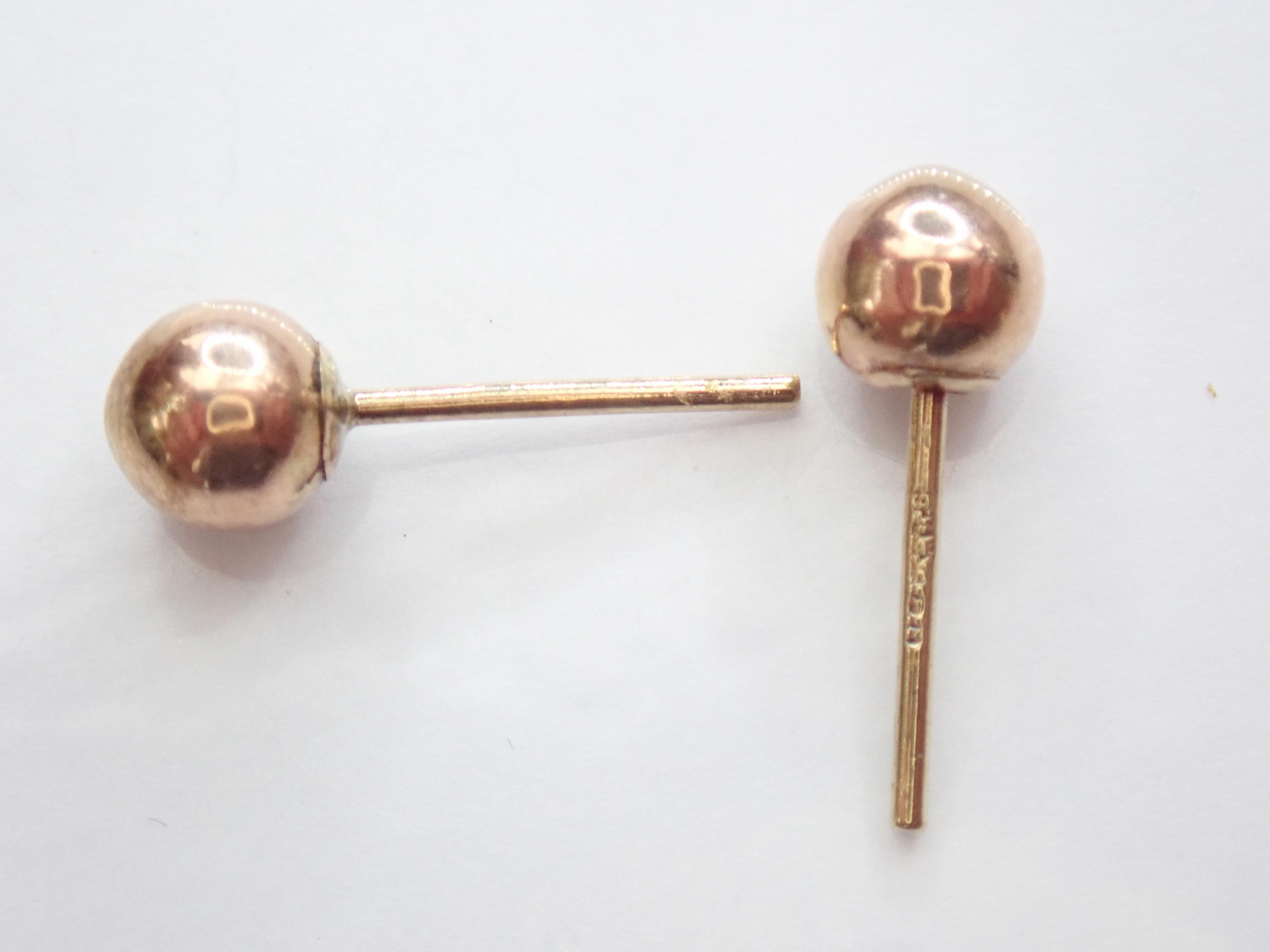 9k 375 Rose / Red gold Ball Stud Earrings 4.96mm Dia – #7.1