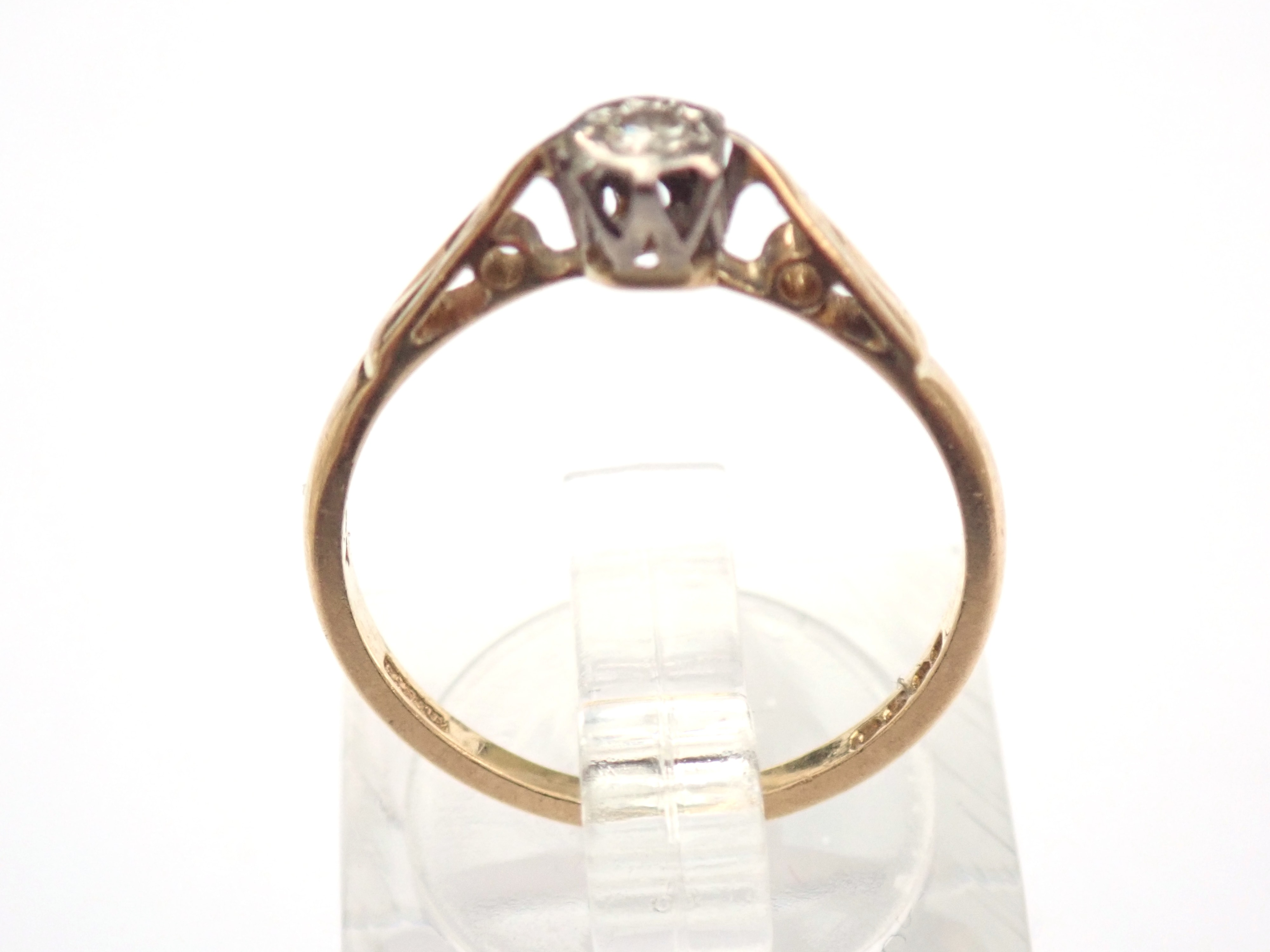18K Gold 0.05ct Diamond Illusion Setting Ring Size M London Hallmark 1965 2.0gr #60