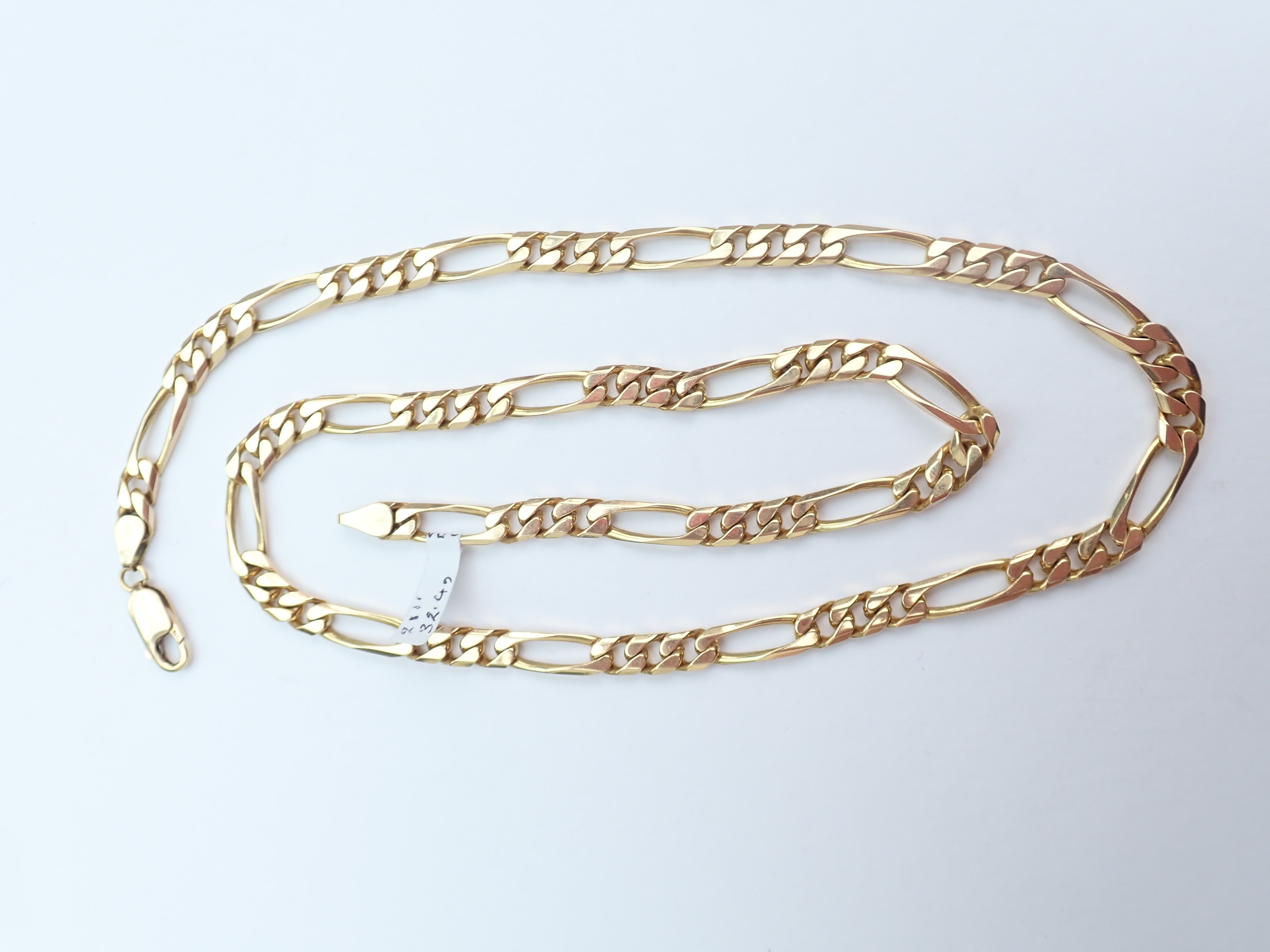 Stunning! 21″ Solid 9ct Figaro linked chain 32.4 Grams